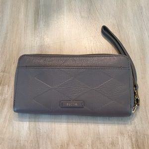 Authentic Fossil Wallet Soft pebble leather grey